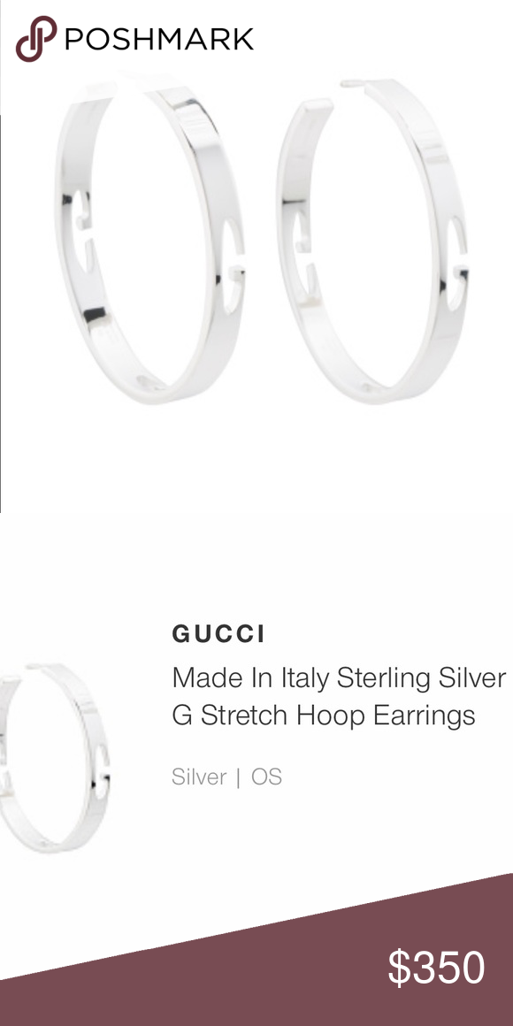 "6e7e5b936c2 NWT Gucci ""G Stretch"" Sterling Hoop Earrings NWT Gucci G Stretch Sterling Silver  Hoop Earrings. Brand new in box. Retail price is  410."