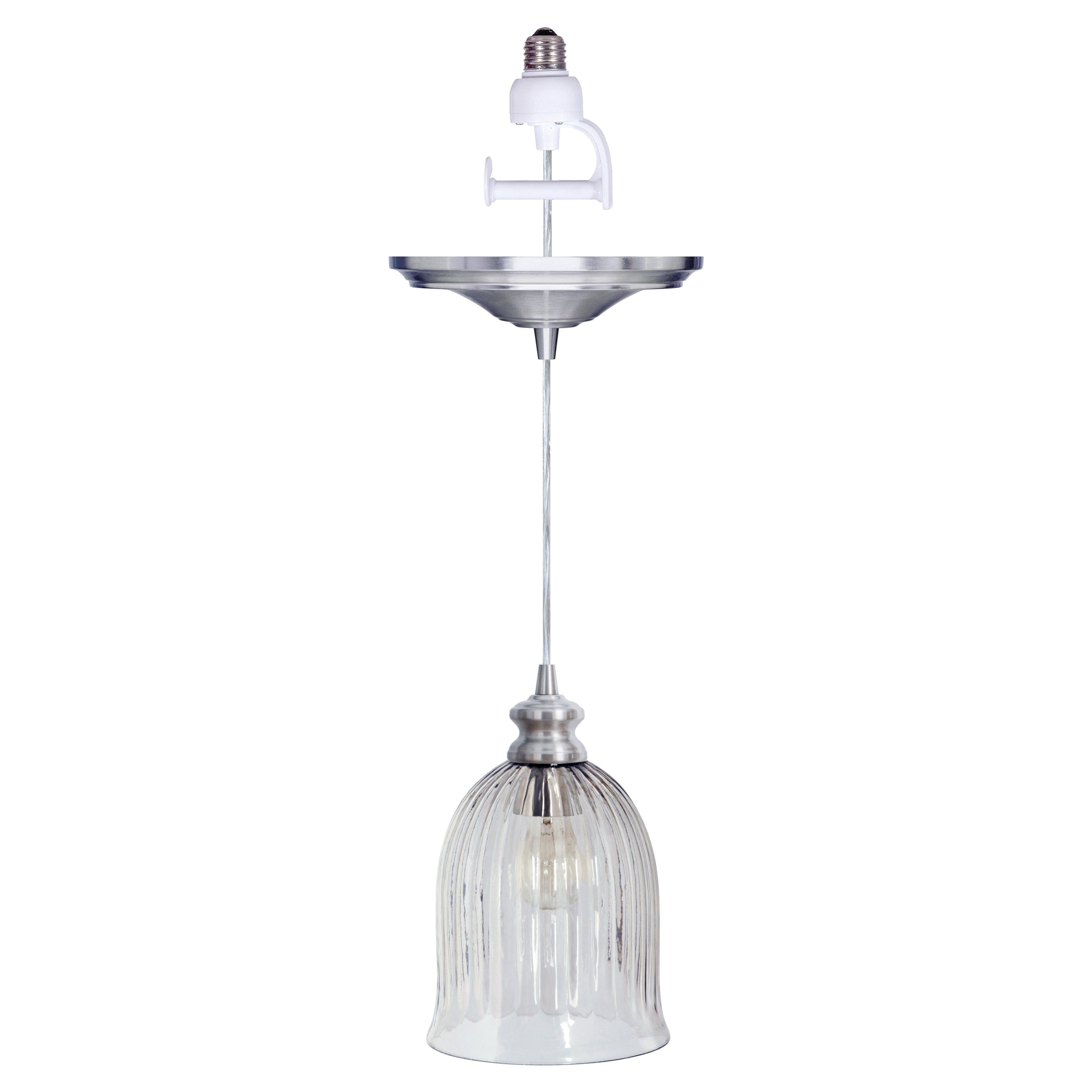 Have To Have It Worth Home Products Instant Pendant Light With Clear Ribbed Glass Bell Shade Brush Screw In Pendant Light Glass Pendant Shades Pendant Light
