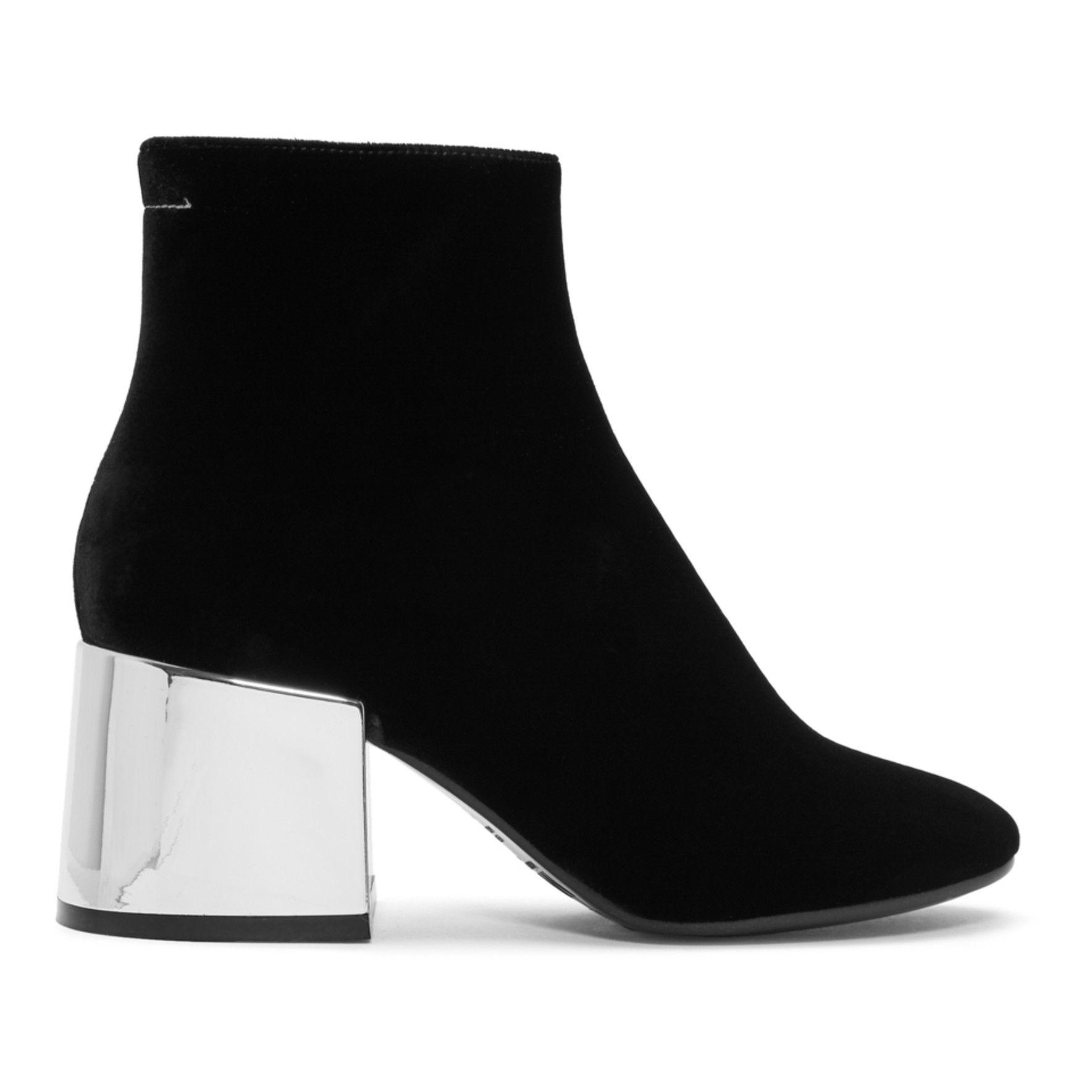 MM6 Maison Martin Margiela Black Velvet Cube Heel Boots S4SAM0X3