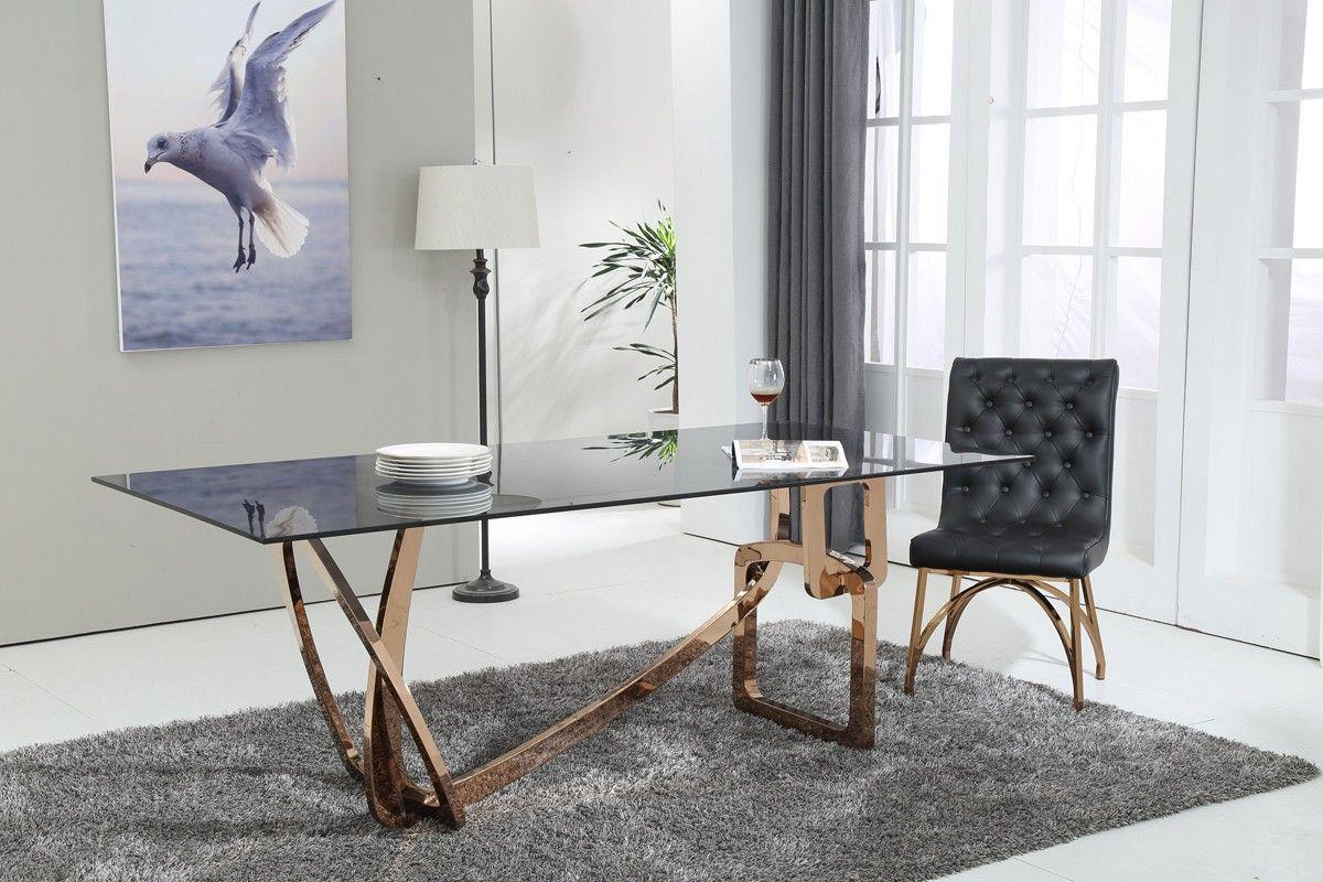 Modern Kitchen Dining Sets Modrest Modern Rectangular Smoked Glass Top Rosegold Base Dining