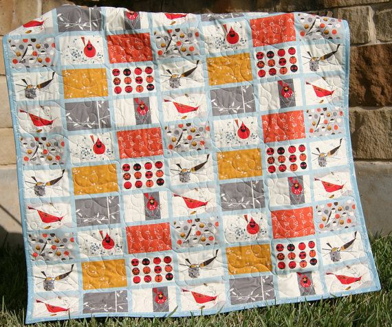 Cardinal Modern Quilt Red Blue Orange Organic by SunnysideDesigns2