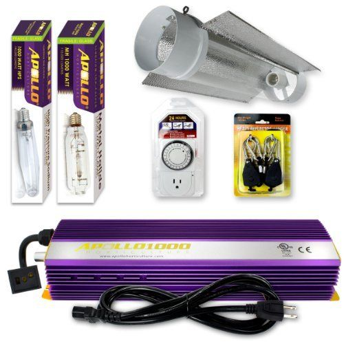 New Apollo Horticulture 1000w Grow Light Kit Purple Dimmable Ballast W 6 Cool Tube Detachable Fins Hood Re Hydroponic Equipment Grow Light Bulbs Grow Lights