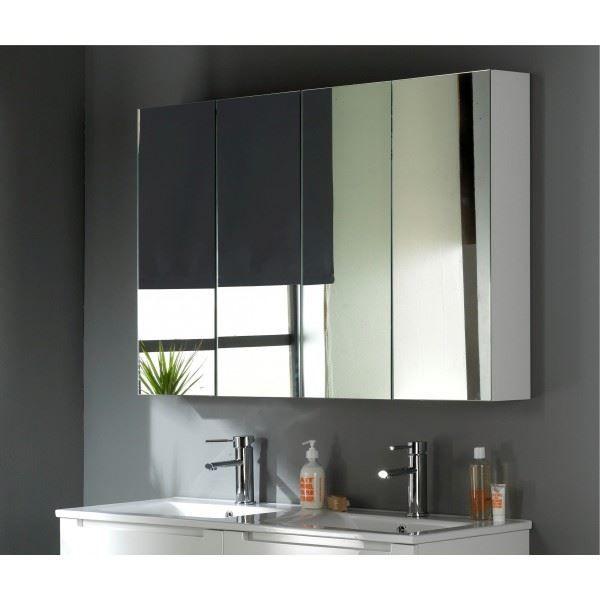 Armoire Miroir 120 Cm Blanc Laque Miroir Salle De Bain Armoire