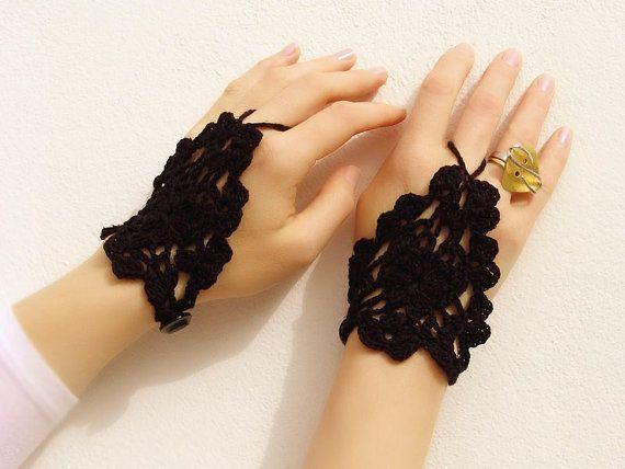 Black crochet lace mittens fingerless gloves hand by Lasunka