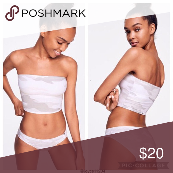 fab1a0e693 PINK Longline Tube Top White Camo This comfy longline bandeau is perfect  for showing off with your fave strappy tank or tee. Unlined and wireless  for ...