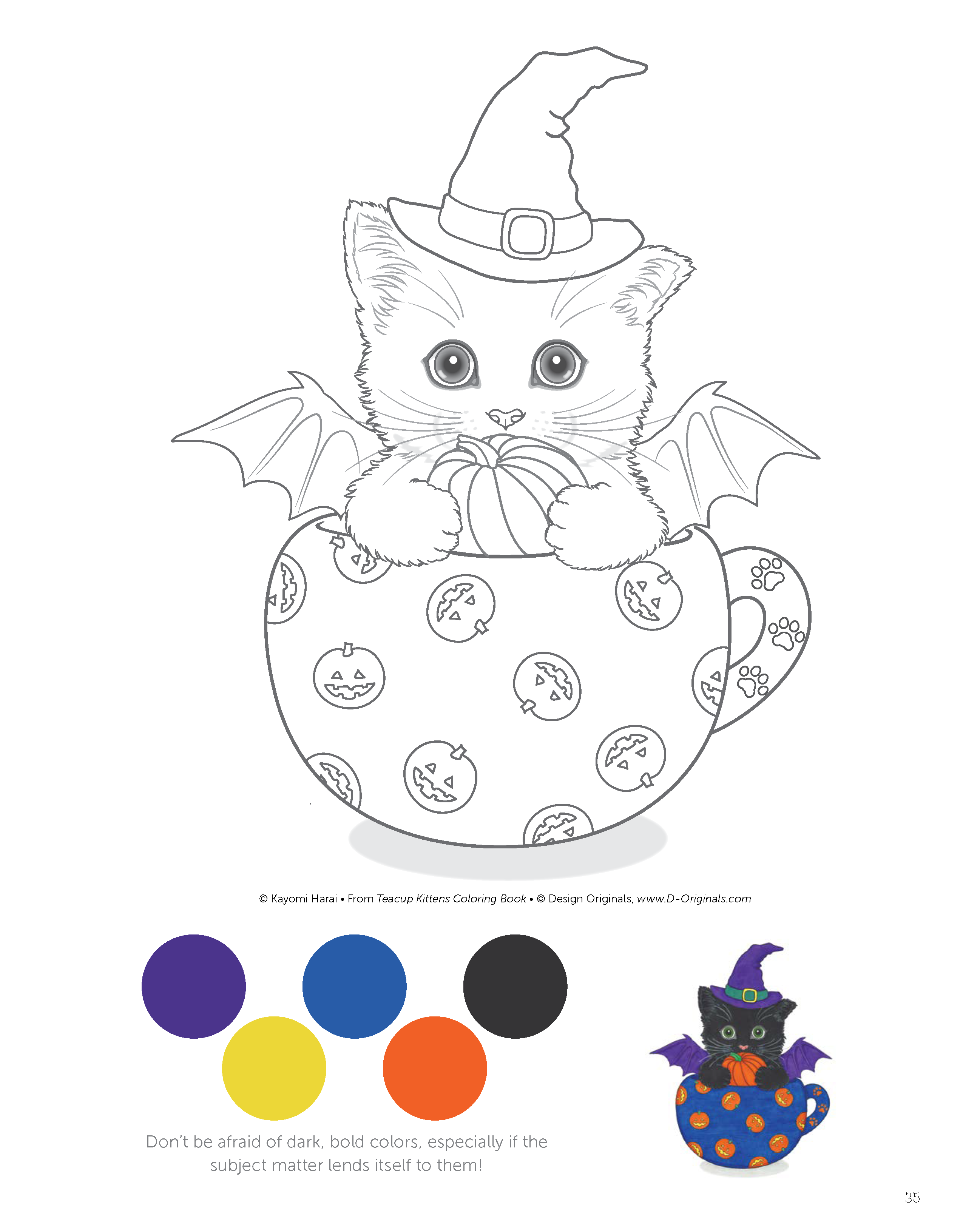 Katzen Ausmalbilder Vorlagen : Teacup Kittens Coloring Book Design Originals Kayomi Harai