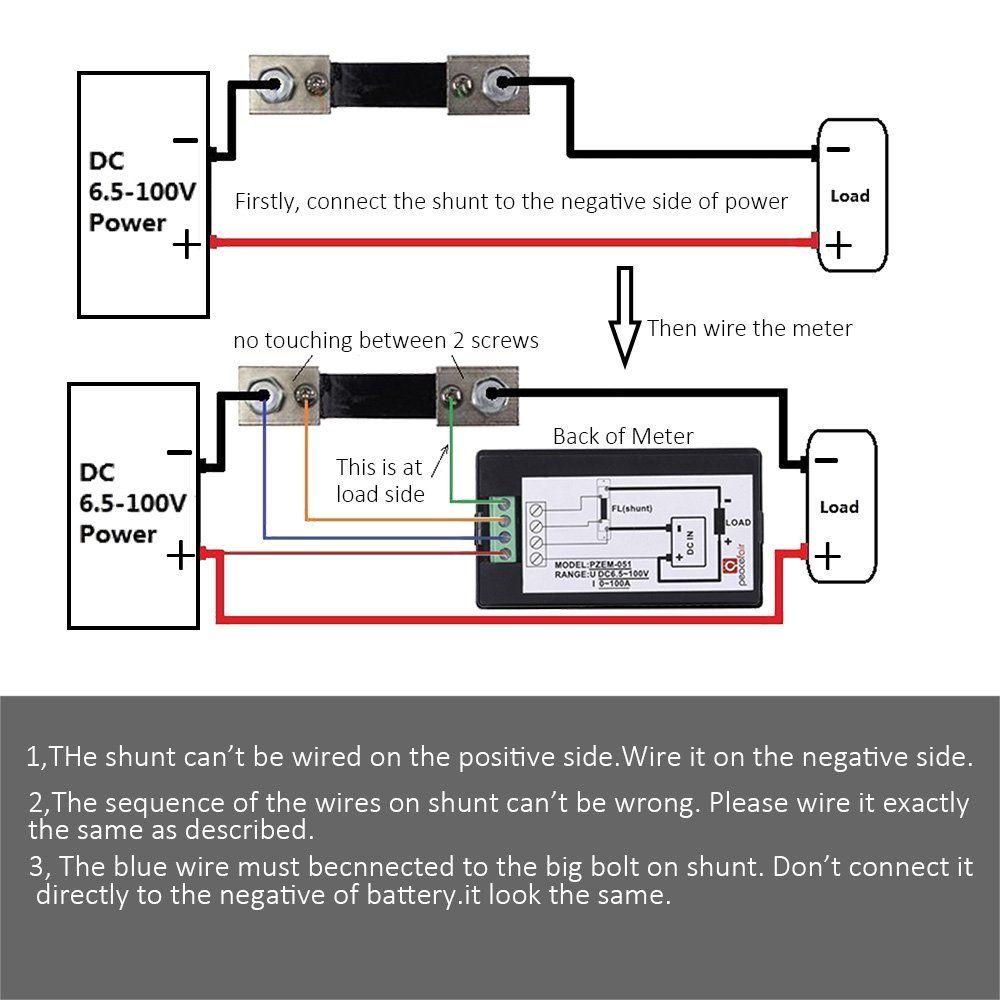 Amazon.com: MICTUNING DC 6.5-100V 0-100A LCD Digital Display Ammeter ...