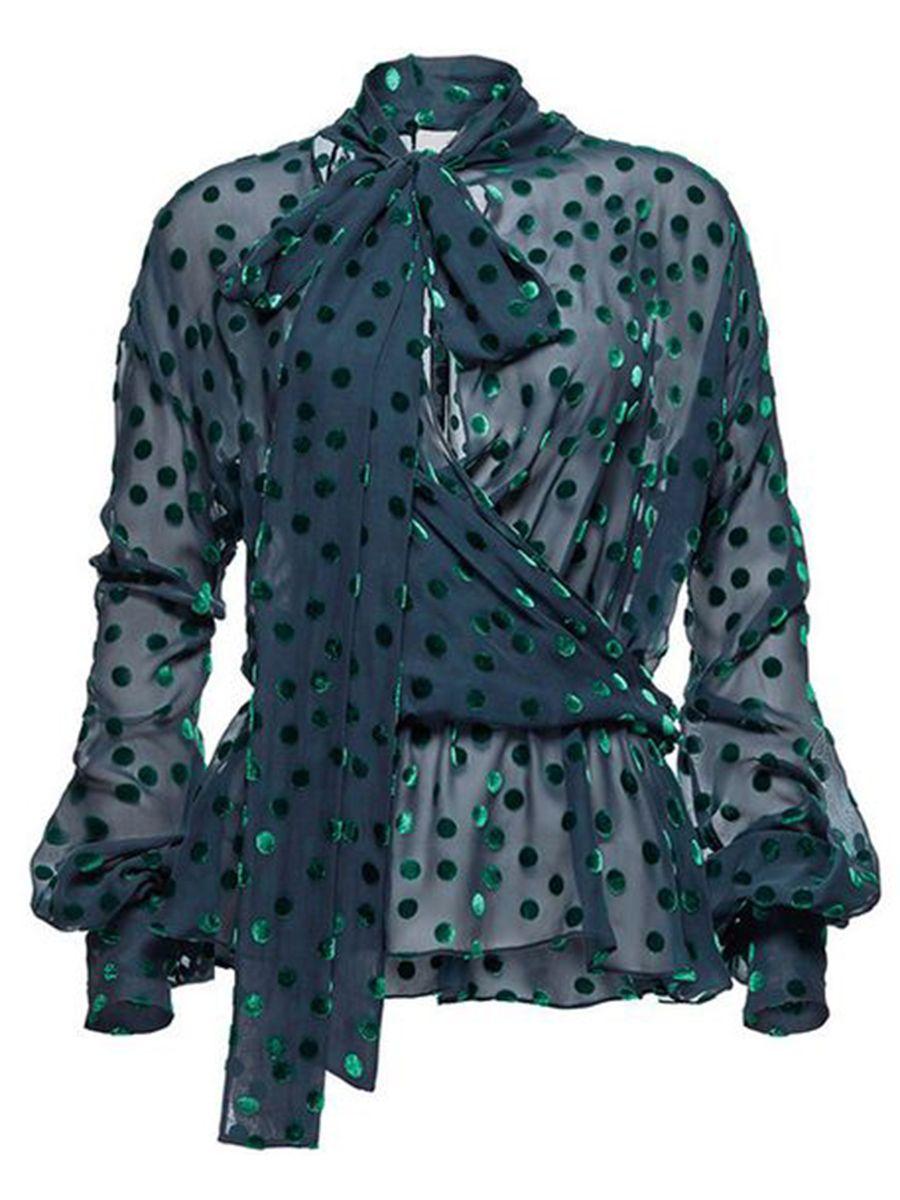 Fashion Women Bow Tie Ruffle Polka Dot Puff Sleeve Casual Loose Shirt Blouse Top