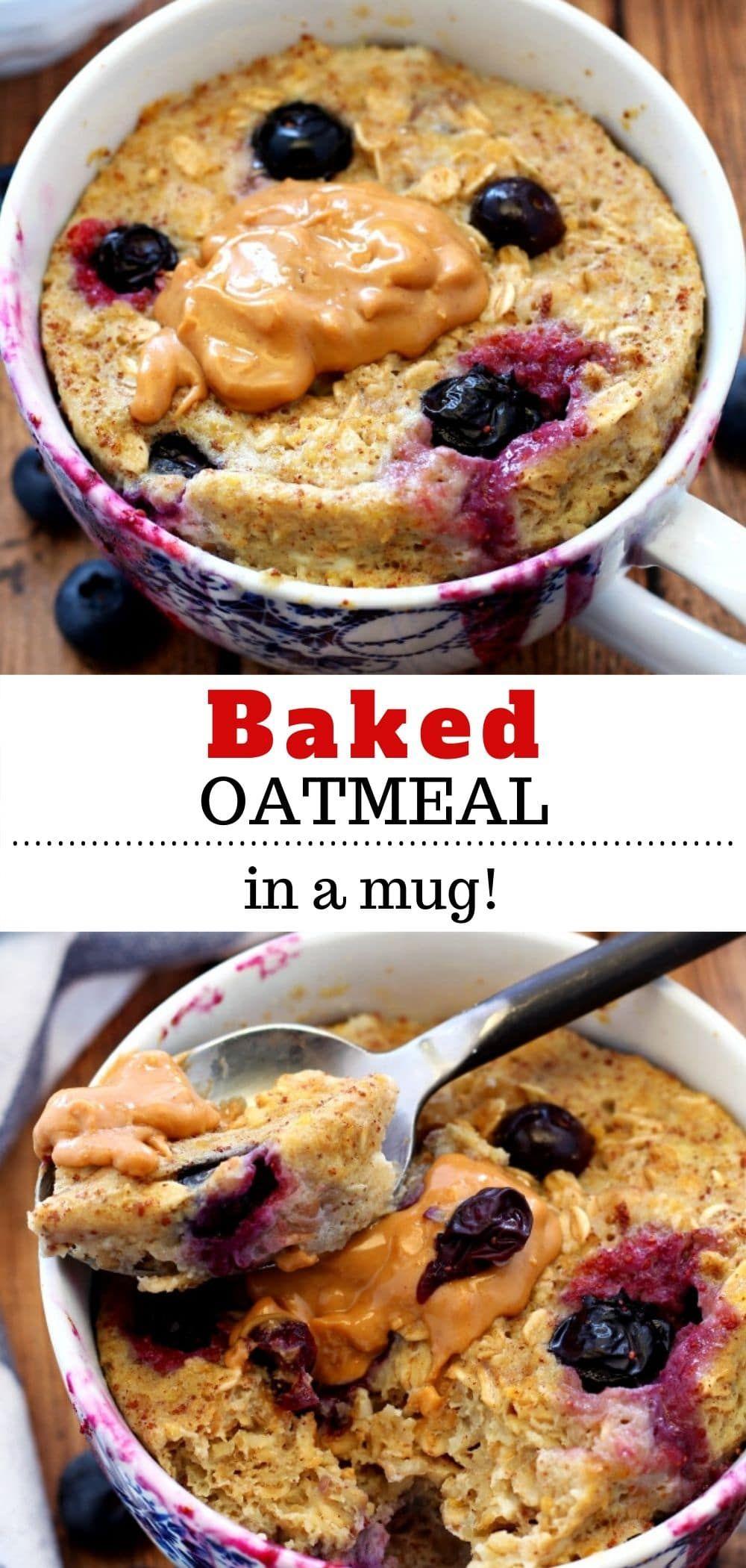 Blueberry banana microwave baked oatmeal in a mug recipe