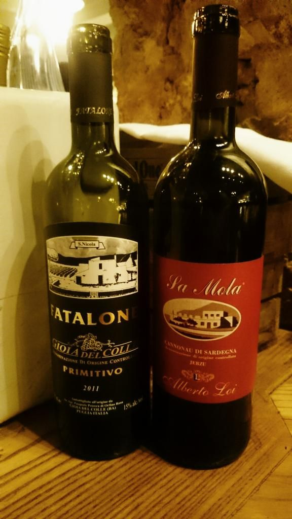 The winepairings for our fourth course are a Faltone Primitivo & Cannonau di sardegna #winetasting @AmeliasOfficial