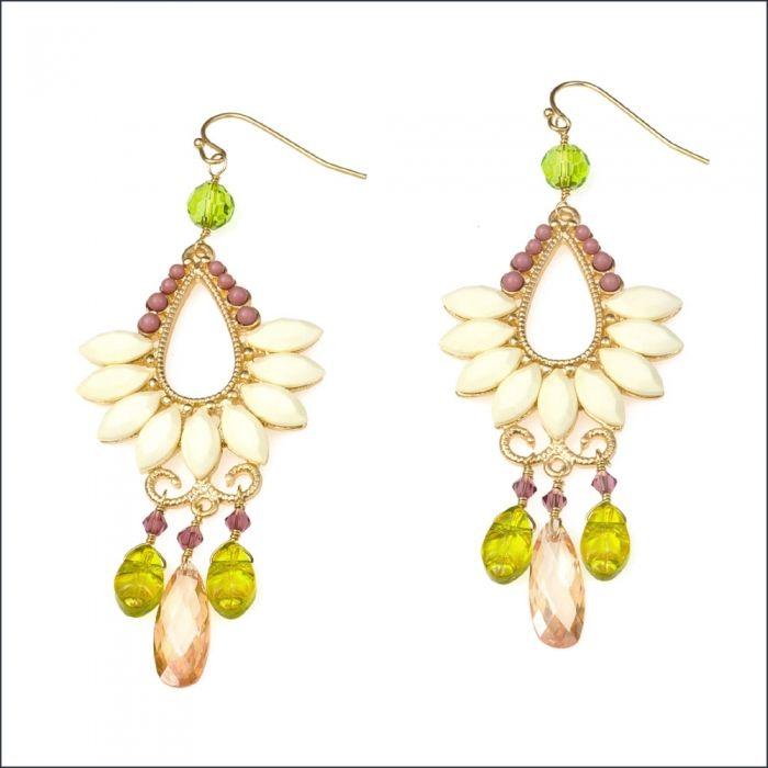 Glass LOVE BEADS Designer Chandelier Earrings