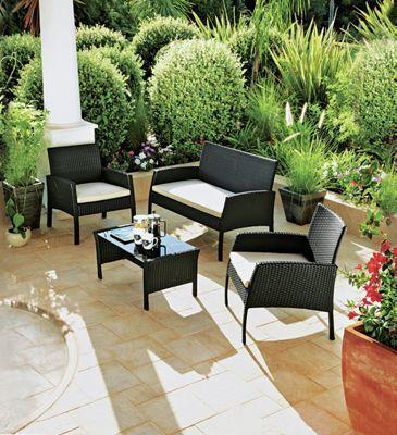 Buy Rattan Effect 4 Seater Garden Patio Furniture Set - Black at ...