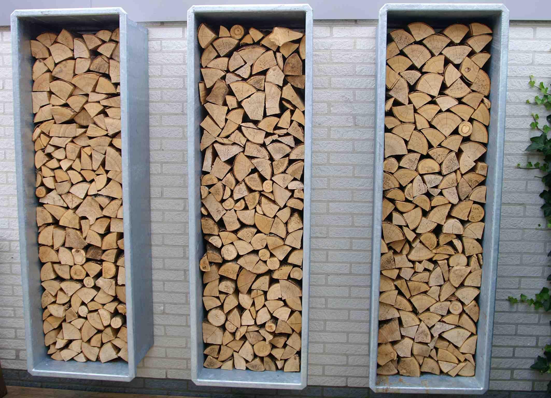 Contemporary Metal Wood Store - Verzinkte Haardhout Bakken Ontwerp Hoveniersbedrijf