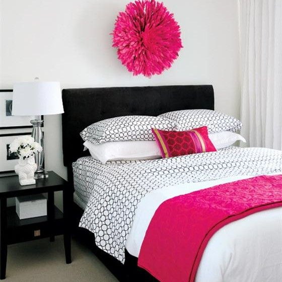 Pink white and black room decor