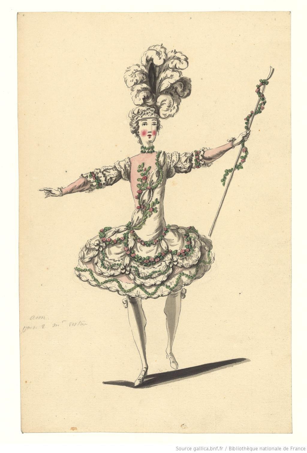 DESSINS ET CROQUIS de costumes pour les opéras représentés à Paris et à Versailles de 1739 à 1767.    Langue : Français Droits : domaine public Identifiant : ark:/12148/btv1b6000722p