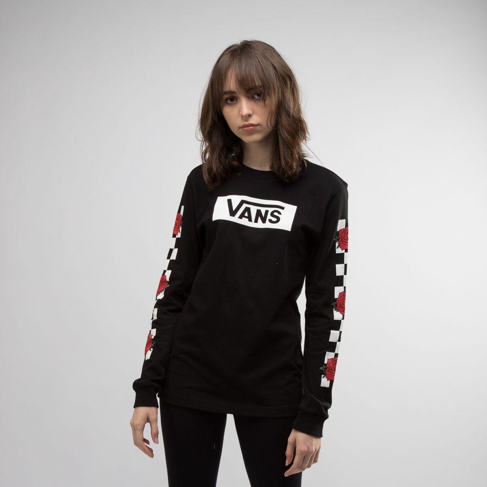 Womens Vans Rose Checkered Long Sleeve Tee Black Zumiez Outfits Vans Sweater Vans Shirt