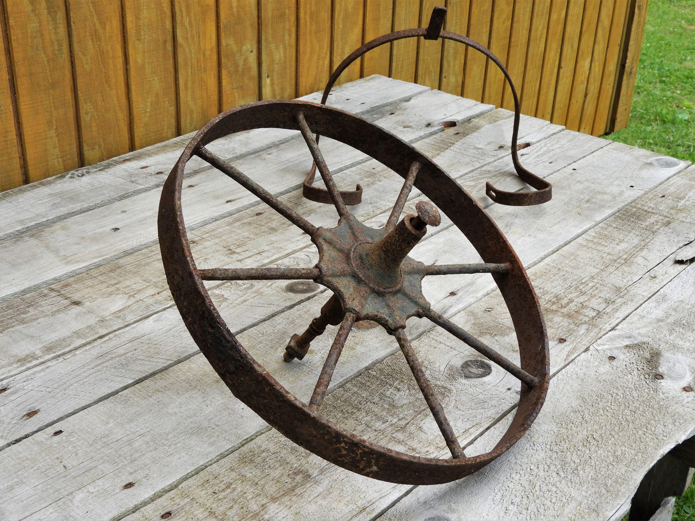Antique Iron Wheel Wheelbarrow Hardware Rusty Red Brown Garden