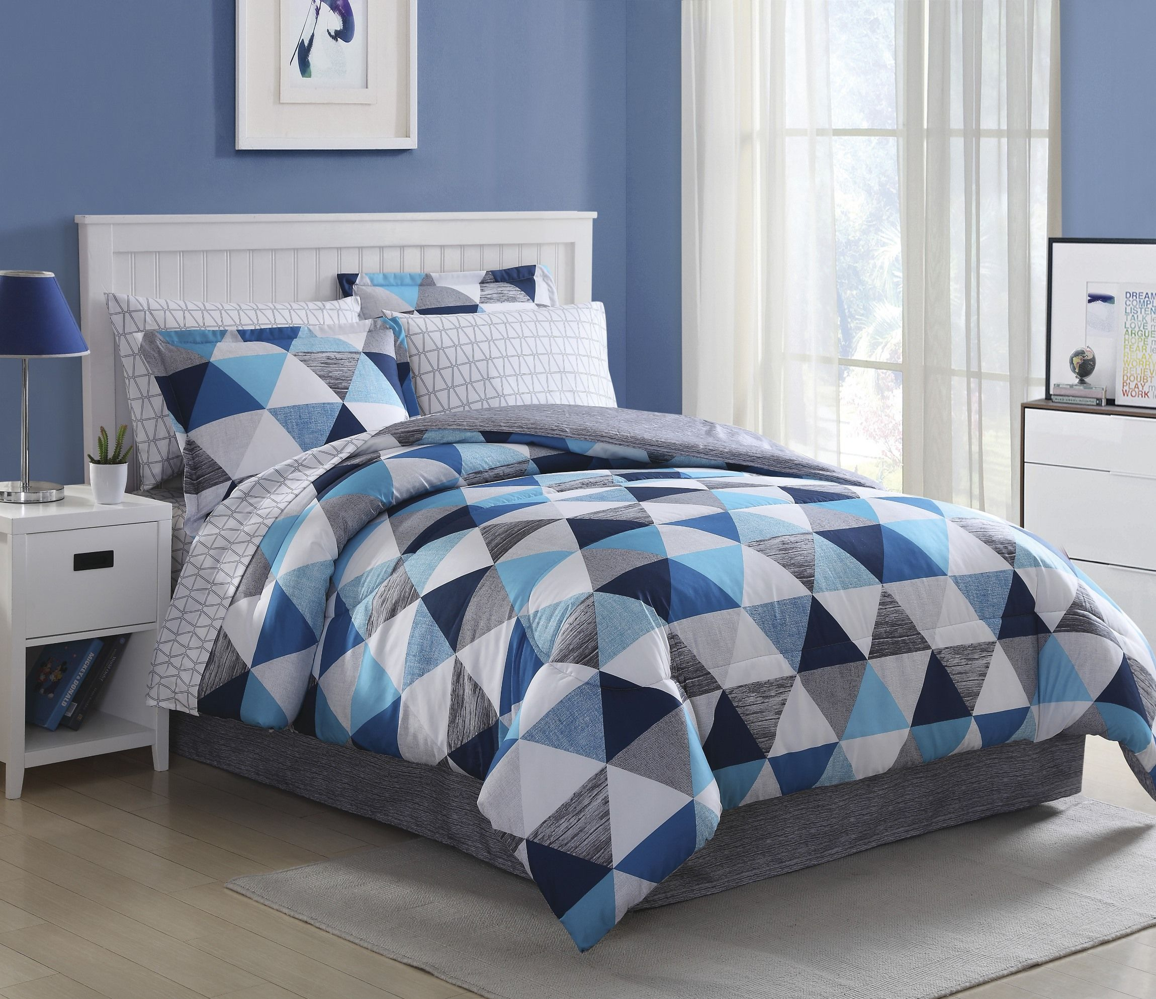 A Complete Bedding Set In A Cool Blue Triangles Pattern From