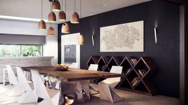 esszimmer pendelleuchten modern design holztisch - Esszimmer Modern