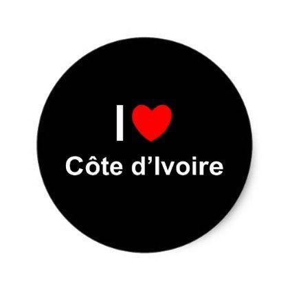 I love heart côte divoire classic round sticker custom diy cyo personalize gift idea