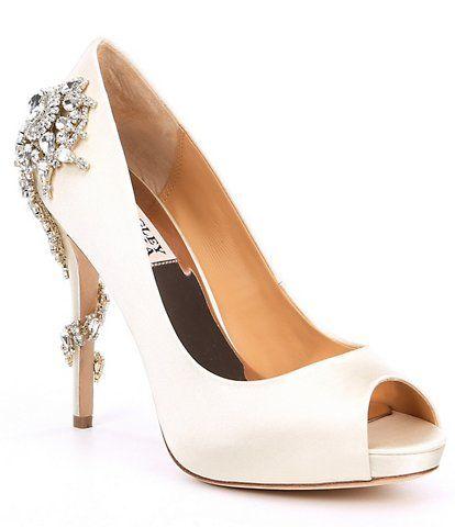Badgley Mischka Carolyn Satin Crystal Embellished Block Heel Dress Sandals | Dillard's