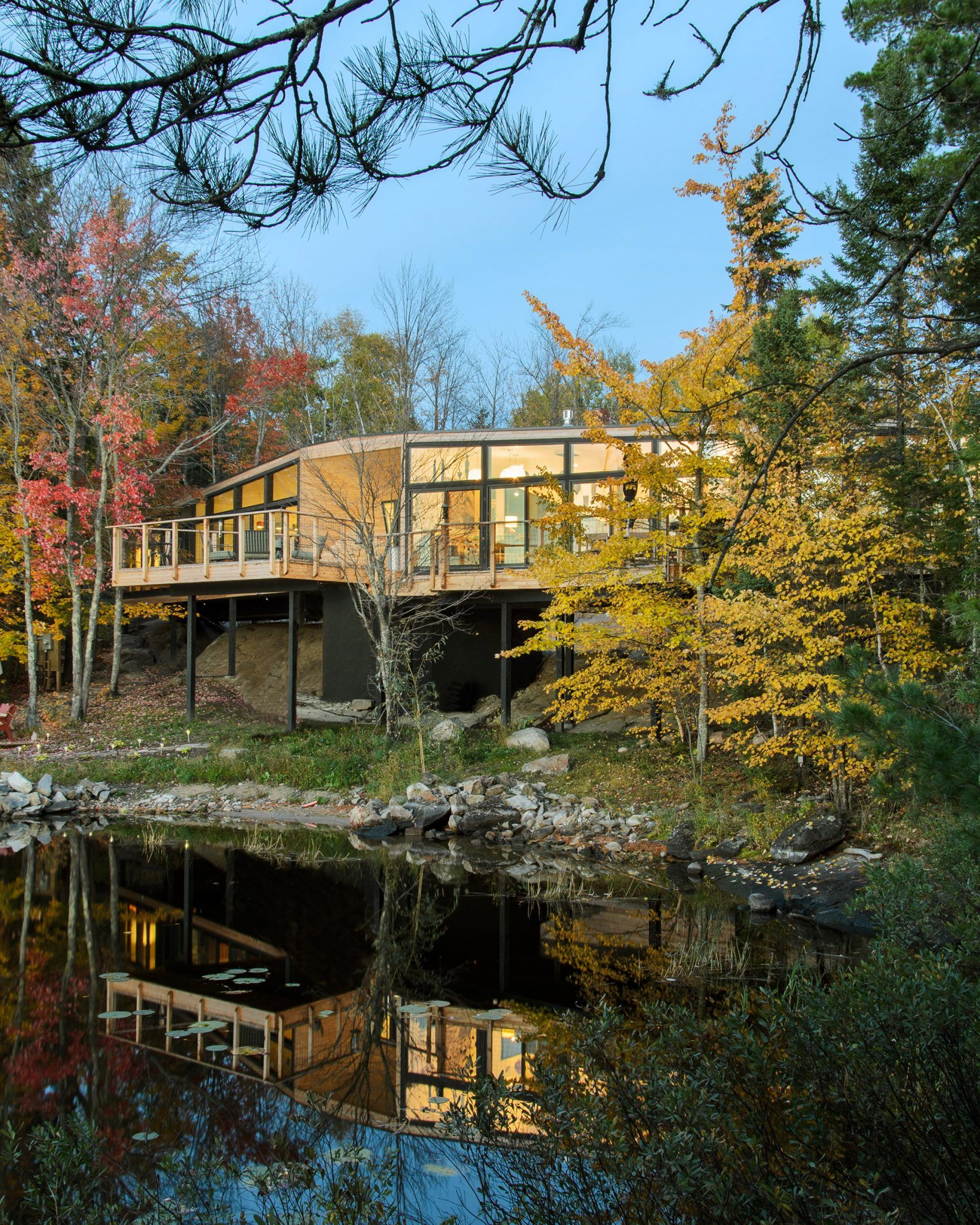 """Cedar-clad Buildings """"kiss"""" At Canadian Lake House By"""