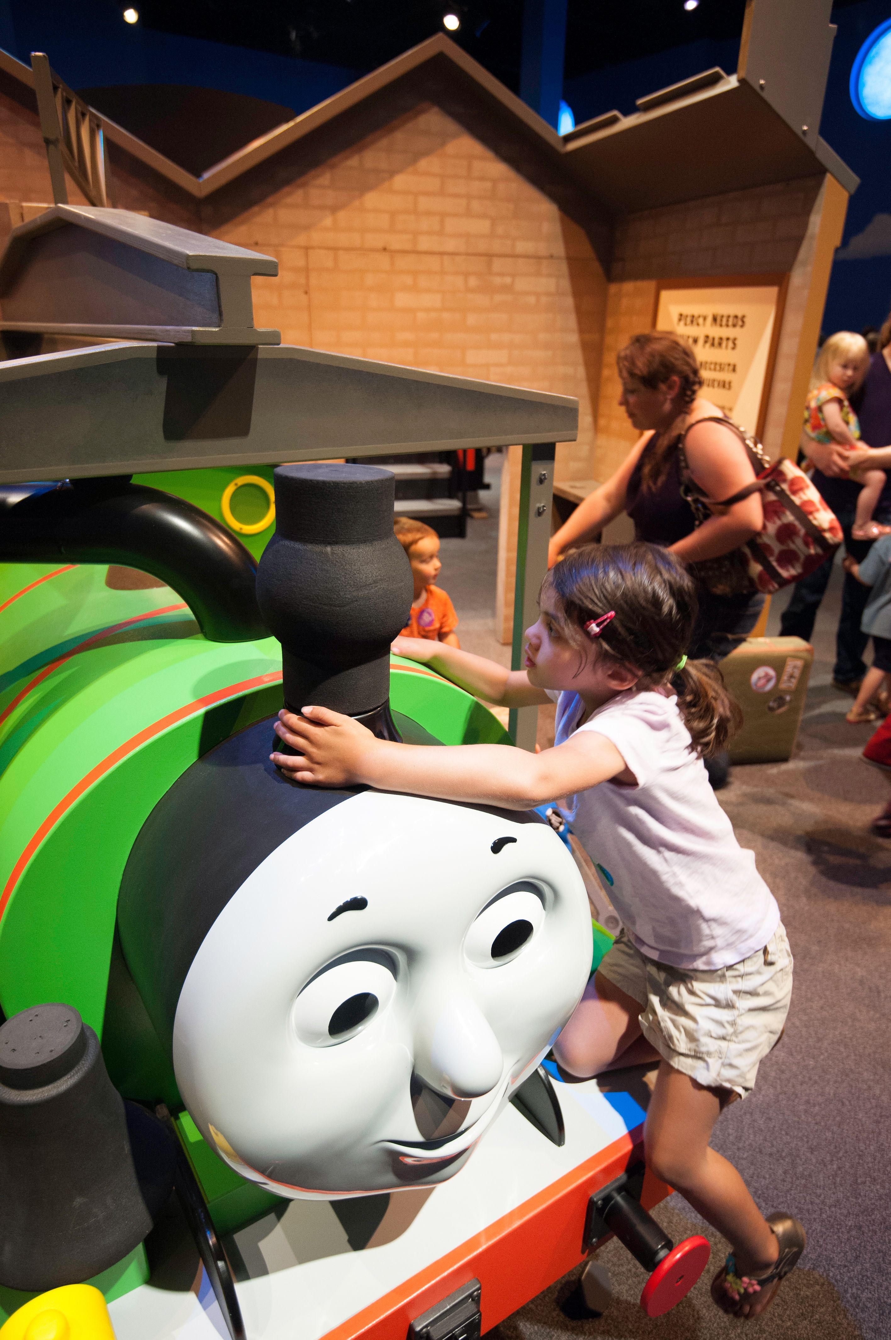 One part of Thomas & Friends: Explore the Rails is getting Percy ready to go on an adventure. Children will be able to attach lights,wheels and other items to Percy as he prepares for departure.