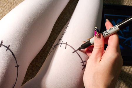 diy tights with stitches.. too-too accurate with the stitches, just going for the overall feel