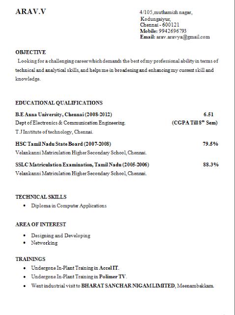 final year engineering student resume format rajasthan land of