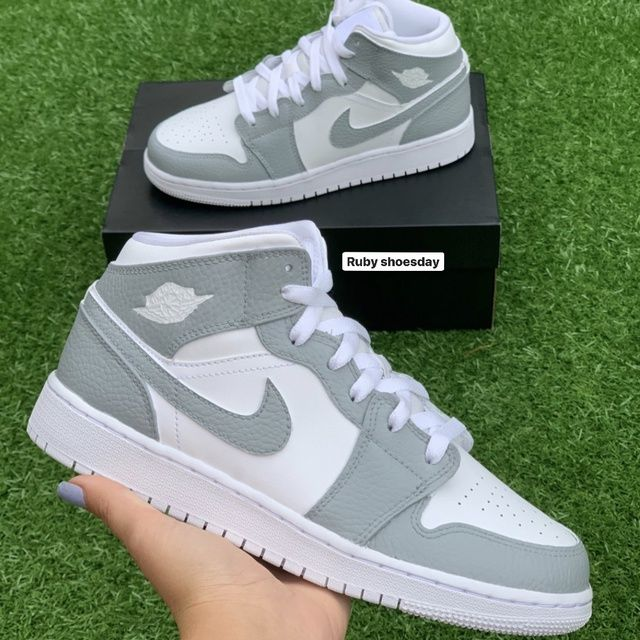 Grey and White Nike Air Jordan 1 Mid - JUNIOR SIZES ONLY by ...