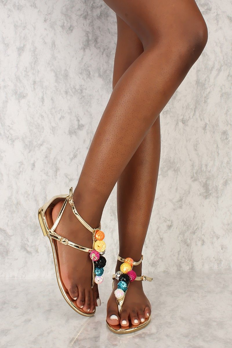 35ff6cb6da01 Wear these cute sandals for a for a casual sunny day! Featuring a sequin  ball accent