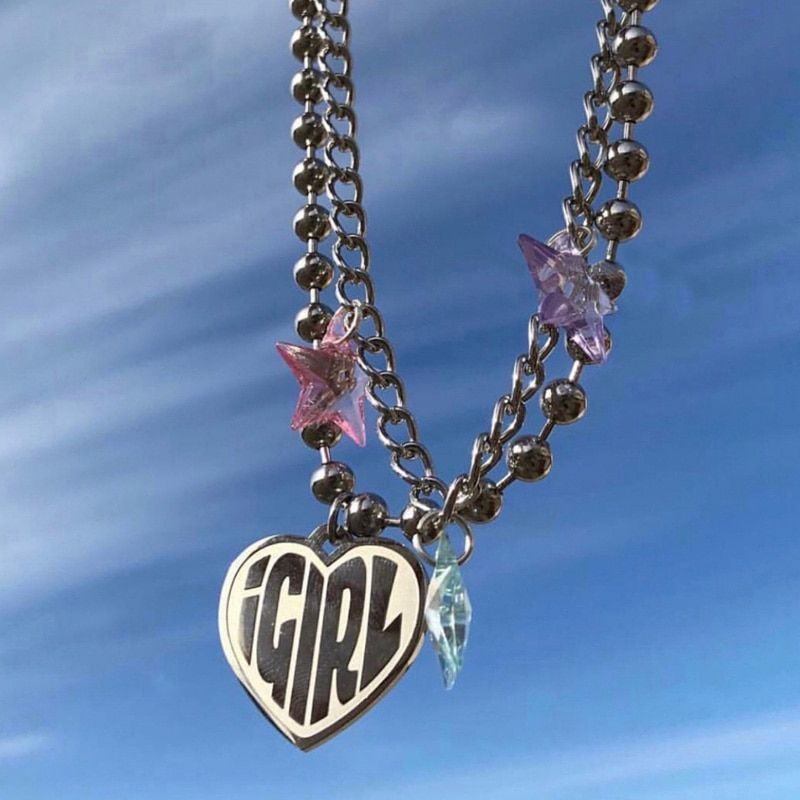 Letter Choker Necklace Chunky Link Chain Goth Beaded Punk IGIRL Necklace Vintage Jewelry Love Heart Pendant Vintage Jewelry Gift