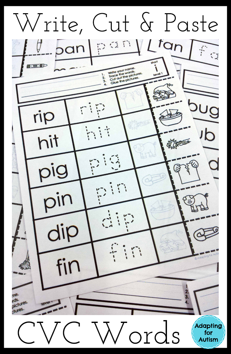 worksheet Word Work Worksheets cvc worksheets no prep write cut and paste activities word work worksheetsword work
