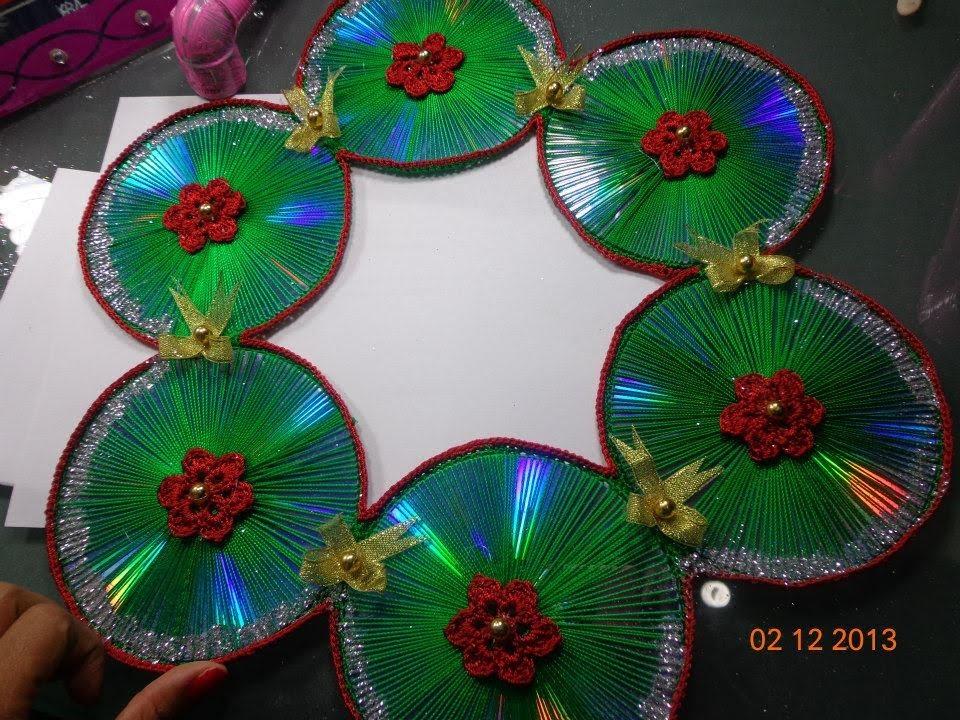 Corona navide a de cds reciclados paso a paso reciclados - Coronas navidenas faciles ...
