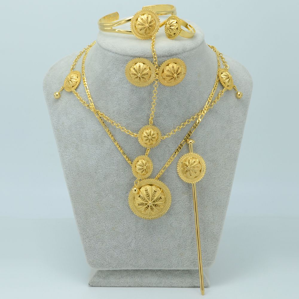 Habesha set Jewelry With Hair Pin Forehead Chain Gold Plated and