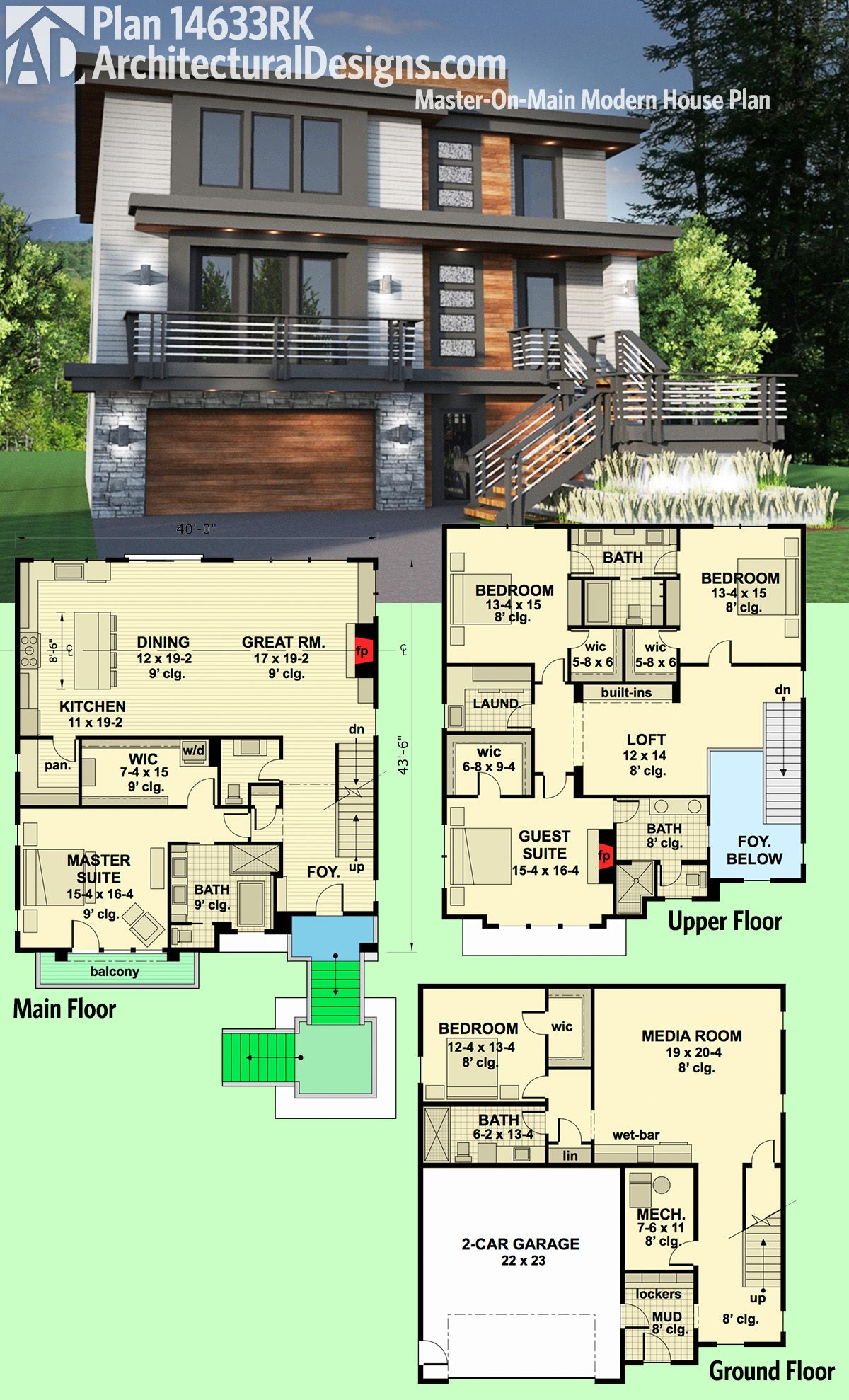 Plan 14633rk master on main modern house plan modern for Modern house plans 3 story