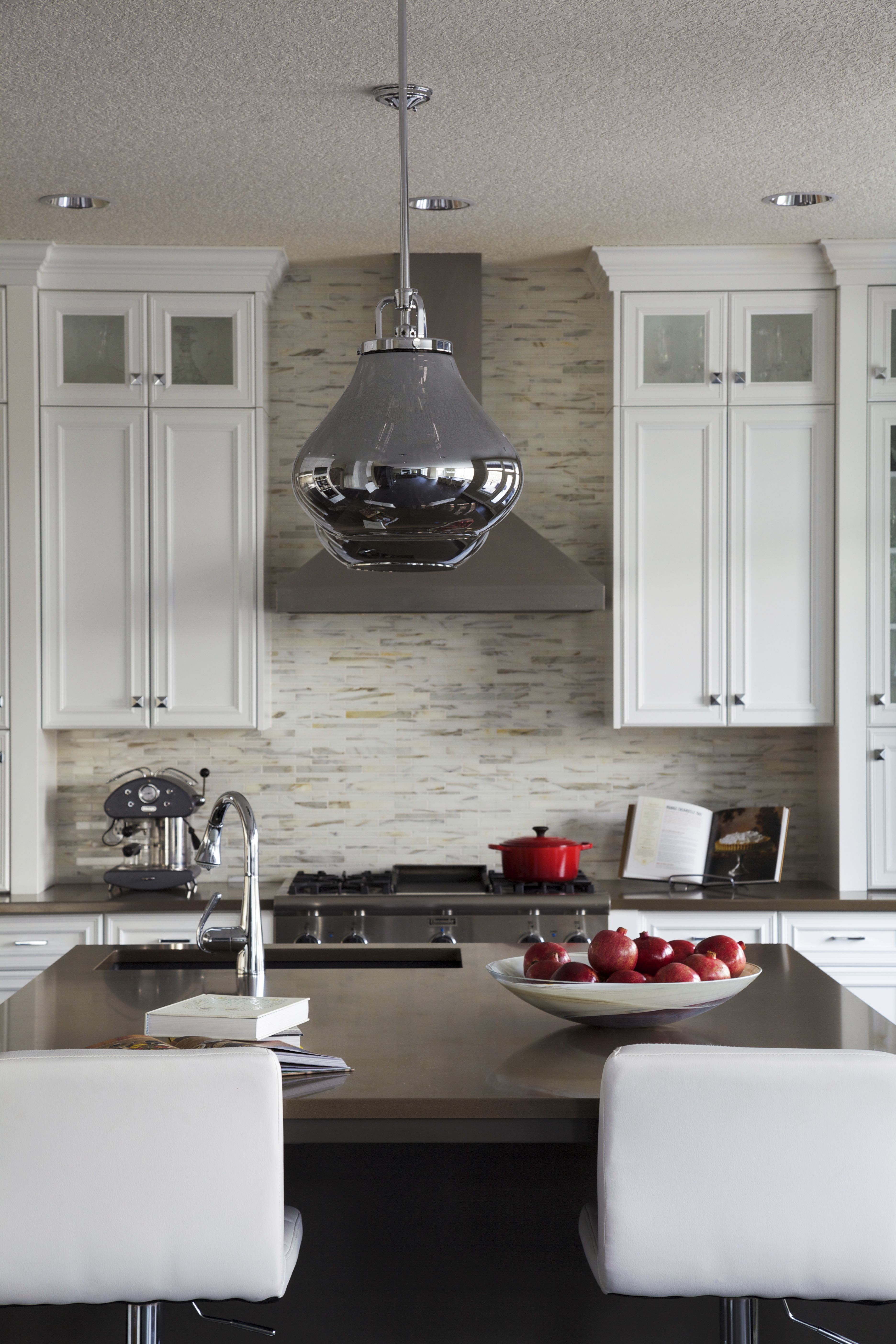Lynn Donaldson & Associates Kitchen White Cabinets Hood Fan White