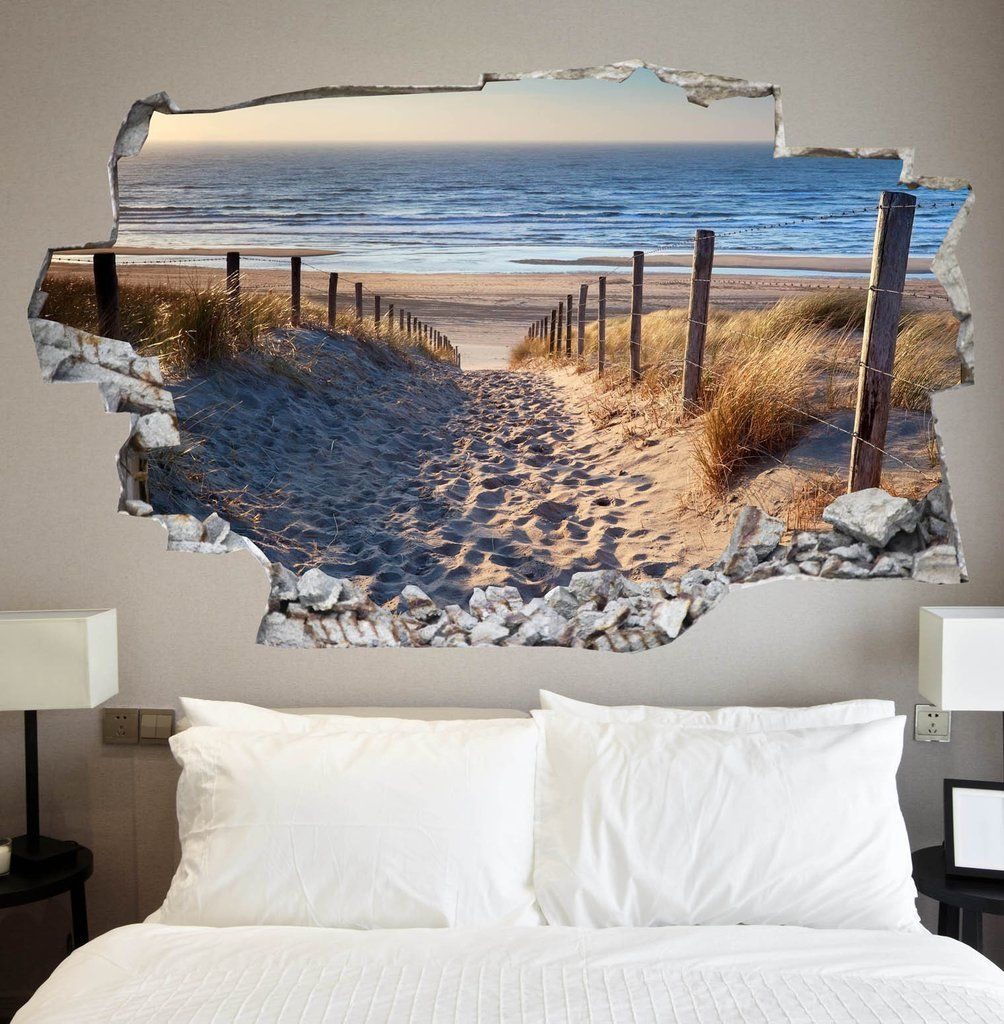 Beach Decals Beach Wall Stickers Vinyl 3d Cab120 Papier