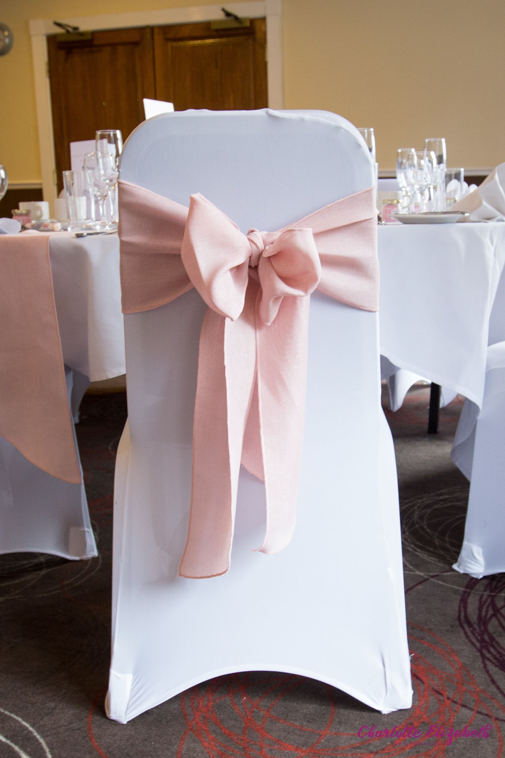 Baby pink chair ribbon in 2020 pink and white wedding
