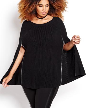 2b5223abcf1 Michel Studio Sweater Cape With Zippers Elle Fashion
