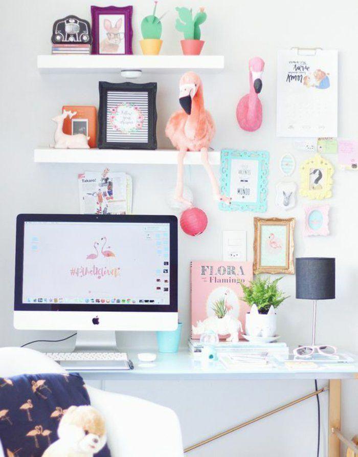 espace bureau moderne, déco en couleurs pastel, déco chambre ...