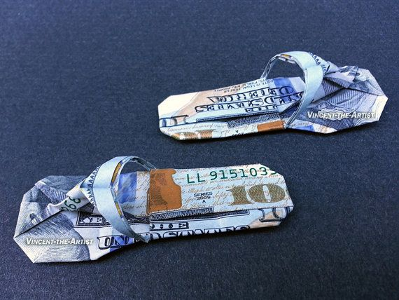 63bf5950254396 SANDALS Money Origami Art Dollar Bill Cash Slippers Thongs Flip ...