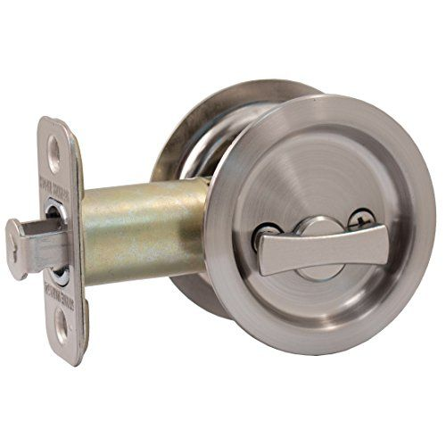 Kwikset 335 Round Bed/Bath Pocket Door Lock In Satin Nickel