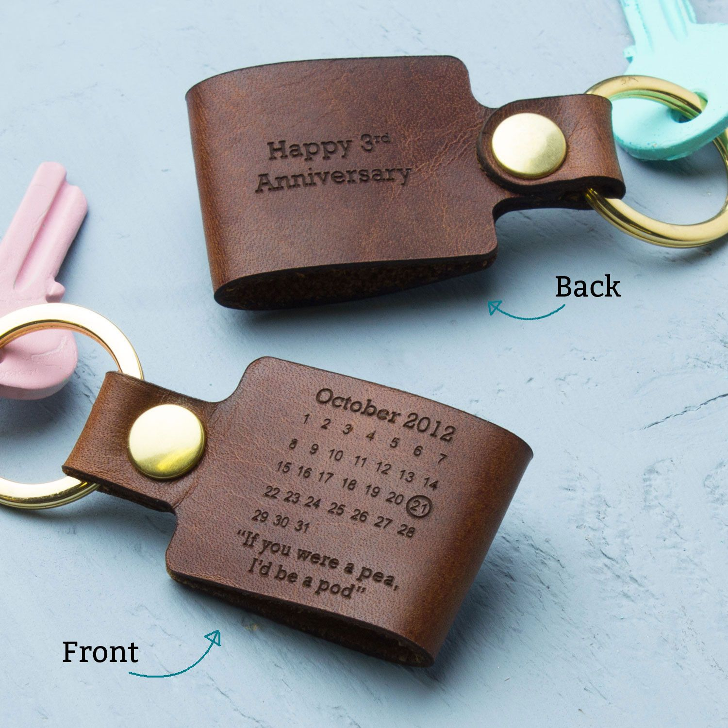 Personalised third wedding anniversary leather keyring for Best gift for wedding anniversary