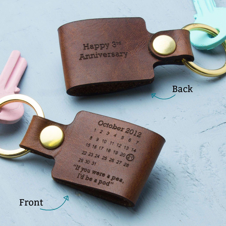 Personalised Third Wedding Anniversary Leather Keyring | Wedding ...