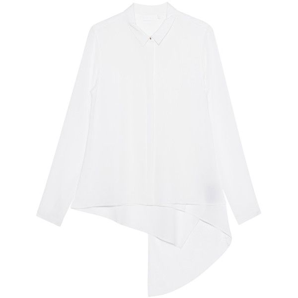 TIGHA Amalia White // Silk mix blouse (£140) ❤ liked on Polyvore featuring tops, blouses, button blouse, button collar shirt, shirt blouse, silk shirt and white shirt