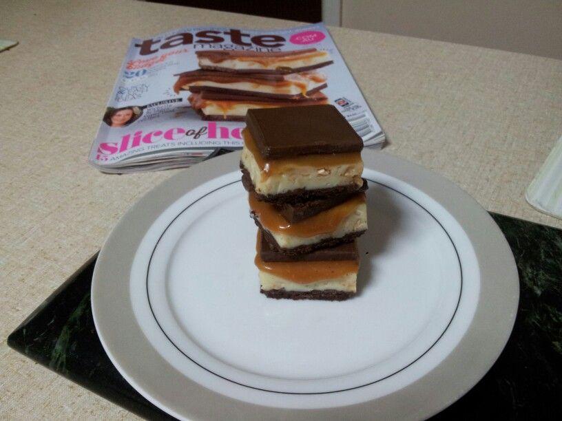 Choc top caramel slice I made from taste magazine (Australia) #tastemagcover