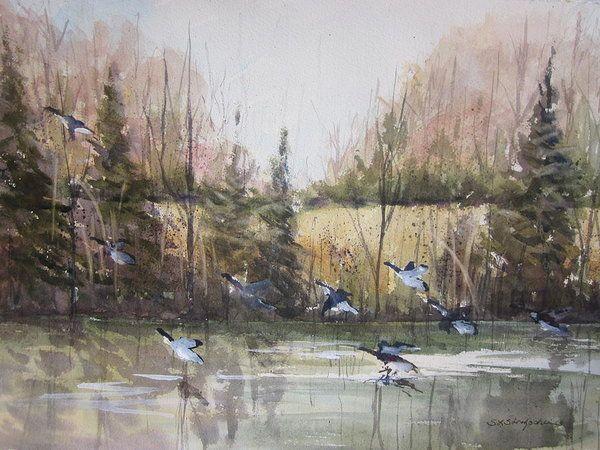Wetlands Print featuring the painting Zeeland Wetlands by Sandra Strohschein