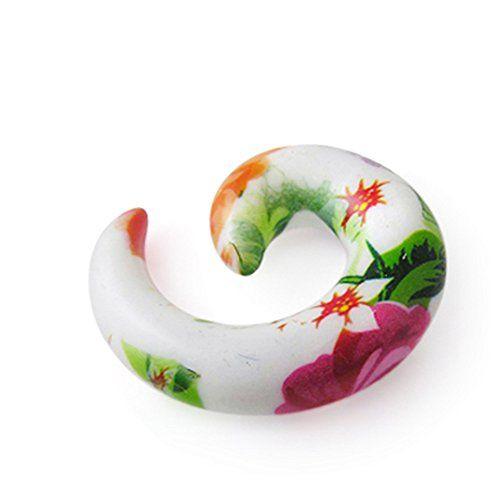 Piercing-Schmuck 10MM Fantasy Blume bunte Acryl Spirale verjüngt sich Ohr Plug - http://schmuckhaus.online/chennai-jewellery/piercing-schmuck-fantasie-blume-bunte-acryl-sich-8
