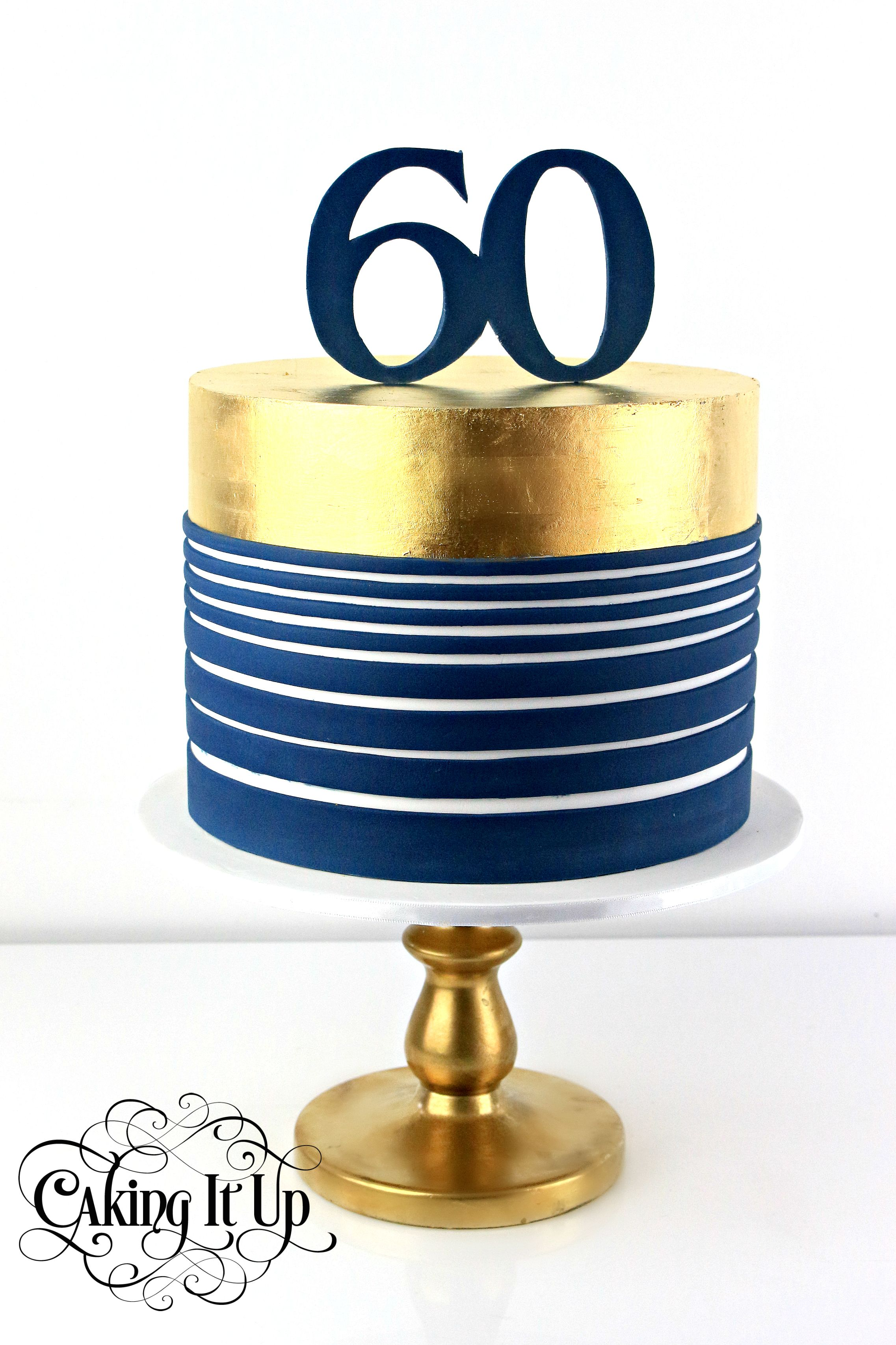 1 Tier 60th Birthday Cake Featuring Navy Horizontal And